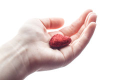 Рука женщины держа малое пластичное сердце Стоковое фото RF