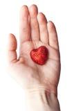 Рука женщины держа малое пластичное сердце Стоковое Изображение