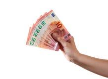 Рука женщины держит 10 банкнот евро Стоковая Фотография