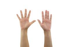 Рука женщины делая знак и держит вне руку 2 изолированный на белом b Стоковое фото RF