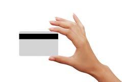 рука женщины кредита визитной карточки Стоковая Фотография RF