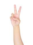рука женщины показывает номер два Стоковые Изображения RF