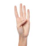 Рука женщины показывая отсчет 4 стоковое фото rf