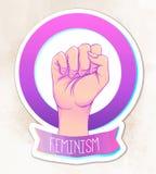 Рука женщины при ее кулак поднятый вверх Сила девушки Conce феминизма бесплатная иллюстрация
