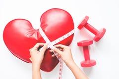 Рука женщины продырявливая измерять-лента на сердце и гантели на белой предпосылке, здоровом питании Стоковые Фотографии RF