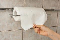 Рука женщины с бумажным полотенцем стоковая фотография rf
