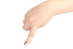 Рука женщин полная Жест задавливая таракана изолированный на белизне Стоковая Фотография RF