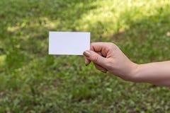 Рука женщин с карточкой Стоковая Фотография