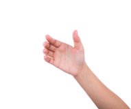 Рука женщин для того чтобы держать карточку, мобильный телефон, ПК таблетки или другое Стоковое Изображение RF