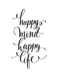 Рука жизни счастливого разума счастливая помечая буквами положительную цитату, каллиграфию иллюстрация штока