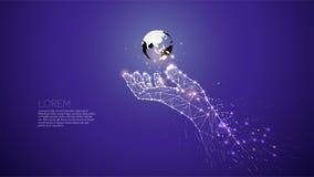 Рука заботя под миром Абстрактная рука иллюстрации вектора Стоковое Изображение