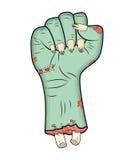 Рука зомби, вектор хеллоуина жеста кулака - реалистический шарж изолировал иллюстрацию Изображение страшного жеста кулака изверга Стоковая Фотография