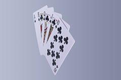 Рука играя карточек королевского притока покера Стоковое Изображение RF