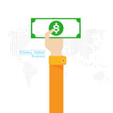 Рука и рука значка мира карты доллара денег вектора установленные Стоковая Фотография