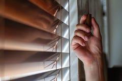 Рука и шторки ` s человека стоковые изображения rf