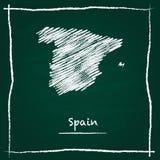 Рука карты вектора плана Испании нарисованная с мелом дальше Стоковое Фото