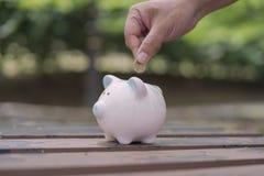 Рука кладя монетки в копилку стоковое изображение