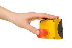 рука кнопки нажимая стоп Стоковое фото RF