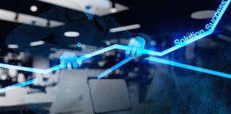 Рука коммерсантки работая с новым компьютером интерфейса Стоковое Изображение RF