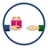 Рука которая держит коробку, подарок, переходы оно к другому perso Стоковое Изображение RF
