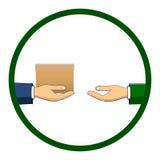 Рука которая держит коробку, подарок, переходы оно к другому perso Стоковое Изображение