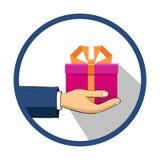 Рука которая держит коробку, подарок Плоский стиль Нарисованный вручную Стоковое Фото
