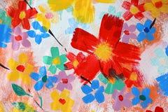 Рука крася абстрактный цветок на стене Стоковые Изображения RF