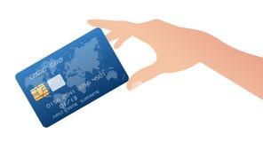 рука кредита принципиальной схемы визитной карточки Стоковая Фотография