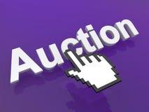 Рука курсора над аукционом слова Стоковая Фотография RF