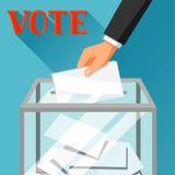 Рука кладя бумагу голосования в урну для избирательных бюллетеней Политическая иллюстрация избраний для знамен, вебсайтов, знамен Стоковые Фото