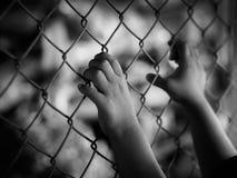 Рука маленькой девочки держа дальше загородку звена цепи для свободы, человеческую Стоковое фото RF
