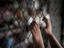Рука маленькой девочки держа дальше загородку звена цепи для свободы, человеческую Стоковая Фотография RF