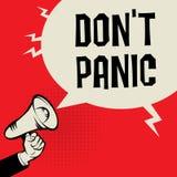 Рука мегафона, концепция дела с паникой ` t Дон текста Стоковая Фотография