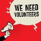 Рука мегафона, концепция дела с текстом нам нужны волонтеры Стоковое Изображение RF