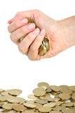 рука монеток полная Стоковые Изображения RF