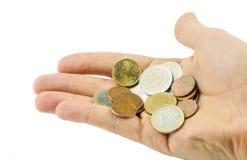рука монеток Стоковые Изображения