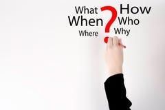 Рука написала вопросительный знак красного цвета в белой предпосылке Вопросительный знак и концепция слова вопроса Стоковая Фотография RF