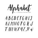 рука нарисованная алфавитом Шрифт щетки сценария Стоковое Изображение RF
