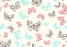 рука нарисованная бабочками в стиле фанк иллюстрация вектора
