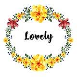 Рука нарисованная вокруг рамки цветков акварели С красным смычком Элемент для приглашений дизайна, знамен, поздравительной открыт Стоковые Изображения RF