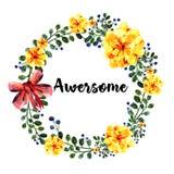 Рука нарисованная вокруг рамки цветков акварели С красным смычком Элемент для приглашений дизайна, знамен, поздравительной открыт Стоковые Изображения