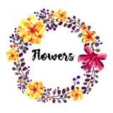 Рука нарисованная вокруг рамки цветков акварели С красным смычком Элемент для приглашений дизайна, знамен, поздравительной открыт Стоковая Фотография