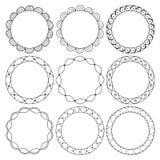 Рука нарисованная вокруг рамок, орнаментов круга Стоковое Изображение RF