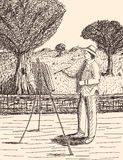 Рука нарисованная в стиле эскиза художника Стоковая Фотография RF