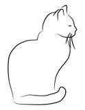 рука нарисованная котом Стоковое Изображение