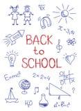 Рука нарисованная назад к эскизу школы Стоковые Изображения RF