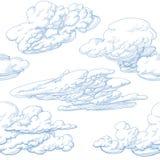 рука нарисованная облаками Стоковые Фото