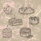 рука нарисованная тортами Стоковое Изображение