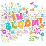 рука нарисованная doodles помечая буквами схематичное время весны Стоковое Изображение