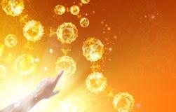 Рука над атомами Стоковое Изображение RF